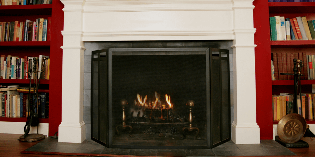 fireplace with a roaring fire