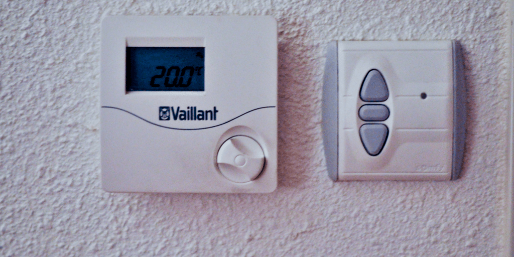 thermostat mounted on wall